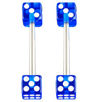 Realistic Dice Tongue Ring [Gauge: 14G - 1.6mm / Length: 16mm / Ball Size: 5mm] 316L Surgical Steel & Acrylic (Dark Blue) // Set of 2