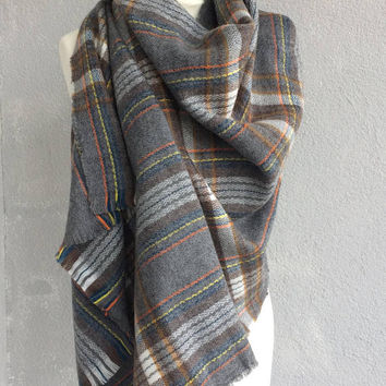 Blanket Scarf Plaid, Grey Blanket Scarf, Wool Tartan Shawl, Wool Men's Scarf, Unisex Wrap Shawl, Men's Gift, Women's Foulard, Christmas Gift