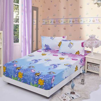 Cartoon Reactive Printed Fitted Sheet Mattress Cover Four Corners With Elastic Band Bed Sheet/Pillowcase for Kids
