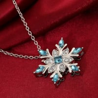 New fashionable natural gemstone necklace silver-plated zircon snowflake necklace pendant