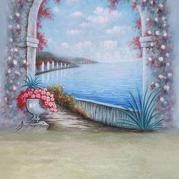 Printed Muslin Scenic Beach Vacation Floral Archway Entrance Pathway Backdrop - 112-10