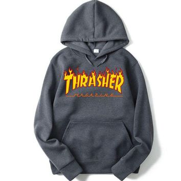 Thrasher Fashion Women Men Casual Classic Print Hoodies Sweater Top Sweatshirt I/A