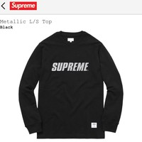 Supreme Supreme Metallic Long Sleeve Black Top Size M $148