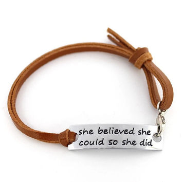 She Believed She Could So She Did Leather Sterling Silver Bracelet Handstamped Hand Stamped Jewelry Graduation Gift Semi Colon Story