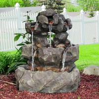 Layered Rock Waterfall Outdoor Fountain w/ LED Lights by Sunnydaze Dec
