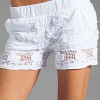MONROW Woven Embroidered Shorts in White from REVOLVEclothing.com