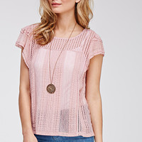 Open-Knit Lace-Trimmed Top