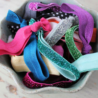 Hair Tie Grab Bag  assortment of 15 by LittleBloomsHandmade