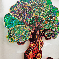 "Tree of life art 11""x11"" Glass painting Bohemian decor"