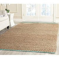 Safavieh Cape Cod Collection CAP811B Hand Woven Aqua Jute and Cotton Area Rug (4' x 6')
