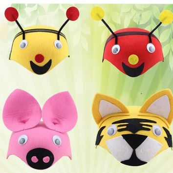 Various Animal Children Hats Kindergarten  Role-playing Children Theater Festival Dressed Head Decoration