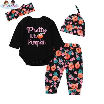 Toddler Baby Boys Girls Thanksgiving Pumpkin Print Clothes Set Long Sleeve Letter Romper Pumpkin Pant Hat Headband 4PCS Outfit