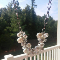 Pearl and Crystal necklace. Short chain necklace. Cluster pearl necklace. White pearl necklace.