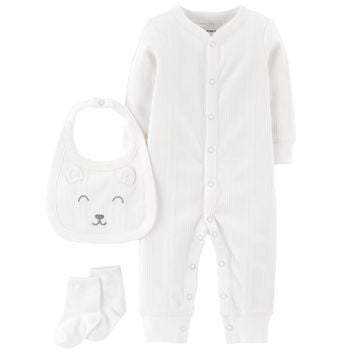 Baby Carter's Ribbed Coverall, Bib & Socks Set