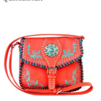 MW Turquoise Concho Messenger Bag