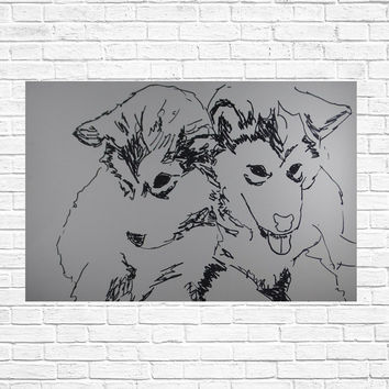 Illustration: Siberian husky, drawing, puppies, dogs, doggies, animals, pet gift, let lovers gift, pups, wall art, décor wall art, pets