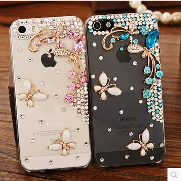 iPhone 7Plus Phone Case For iPhone 7 Case luxury 3D Rhinestone glitter Bling PC plastic Back Case For iPhone 8 Cover 8 Plus Transparent