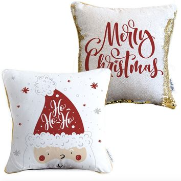 Ho Ho Ho Merry Christmas 2-sided Santa Claus Holiday Pillow with White & Gold Reversible Sequins | COVER ONLY (Inserts Sold Separately)