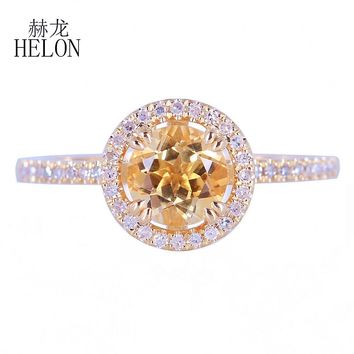 HELON Fine Diamonds Halo Engagement Wedding Ring Solid 14k Yellow Gold 6.5mm Round Genuine Citrine & Diamonds Ring Jewelry Women