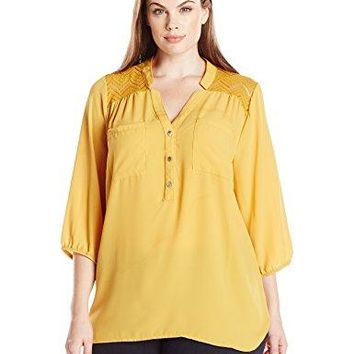 Notations Womens Plus Size Solid 34 Sleeve Y Neck Mandarin Collar Henley Blouse With Lace