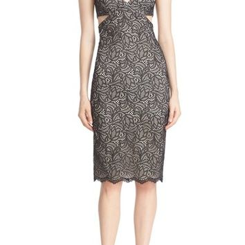 Alice + Olivia 'Riki' Side Cutout Lace Body-Con Dress | Nordstrom