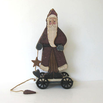 Large Vintage Santa Claus pull toy, Primitive Folk Art, Home and LIving, Christmas Decoration