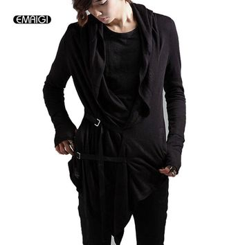 Men cardigan jacket male fashion casual sweater coat hooded cape overcoat punk rock men stage costumes CT456