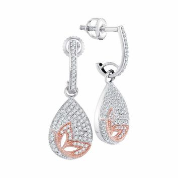 10kt White Gold Women's Round Diamond Teardrop Rose-tone Butterfly Dangle Earrings 3-8 Cttw - FREE Shipping (USA/CAN)