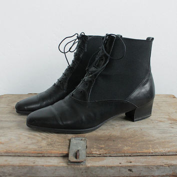 Vintage 80s Black Heeled Ankle Boots with Pointed Toe   women's 7