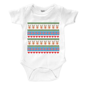 Ugly Christmas Sweater Reindeer Theme Infant Onesuit