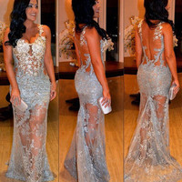 See Through Back Prom Dress,Blue Prom Dress,Long Evening Dresses