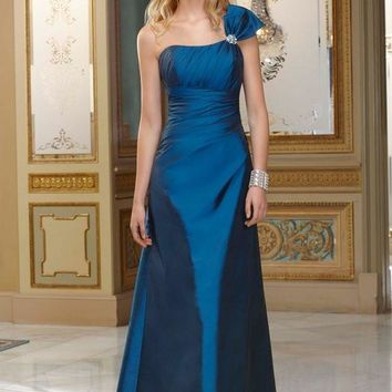 Hot Seller Empire elegant navy blue long One Shoulder Floor Length Sleeveless Beading Tffeta Western Bridesmaid Dresses