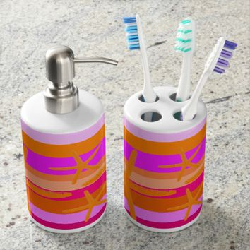 Beach Stripe Fuchsia Orange Starfish Bathroom Set