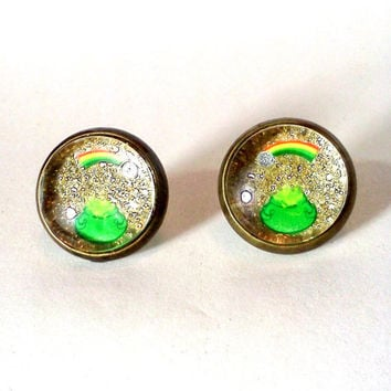 Pot of Gold, Rainbow Earrings, Rainbow Jewelry, St Patricks Day, St Patricks Jewelry, Leprechaun, Nickle Free Earring, Gold Glitter Earrings