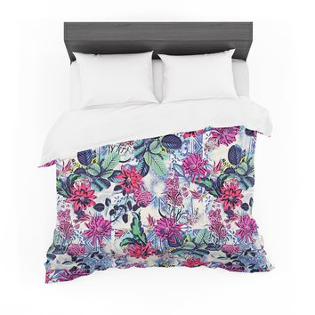 "Victoria Krupp ""Tropical Mix"" White Multicolor Nature Floral Illustration Digital Featherweight Duvet Cover"