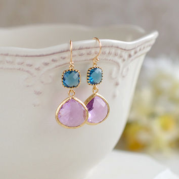 Montana Blue and Lavender Purple Earrings, Gold Plated Navy Blue and Large Purple Teardrop Glass Dangle Earrings, Bridesmaid Earrings