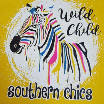 Southern Chics Wild Child Zebra Toddler Youth Bright T Shirt