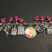 Disney sleeping beauty inspired stainless steel charm bracelet