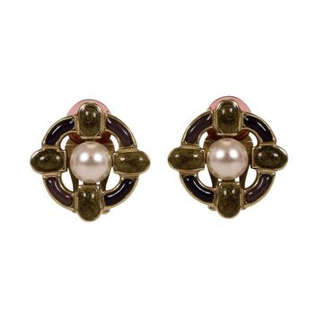 Pre-owned Chanel Faux Pearl Enamel Clip Earrings
