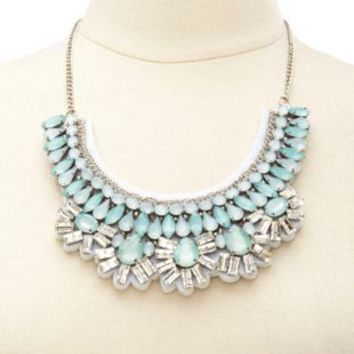 Faceted Stone Bib Necklace by Charlotte Russe - Lt Blue