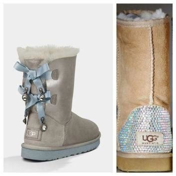 ICIK8X2 Swarovski Crystal Embellished Limited Edition Bailey Bow Uggs - Winter / Holiday Chris
