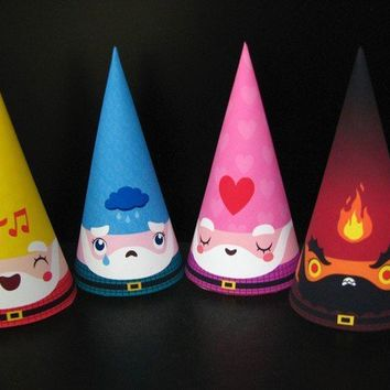 Emotions Cone Gnome Set of 4 Paper Toys by Cutesypoo on Etsy
