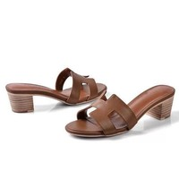 Hermes Women Fashion Leather Sandals Heels Shoes-2