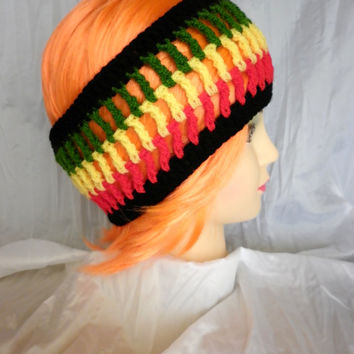 FREE SHIPPING Rasta Crochet Headband Ear Warmer Turban Style Art Exclusive Cozy Pinterest Favorite Womens Crochet Fashion Hair Accessories