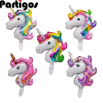 50pcs Mini Rainbow Unicorn Foil Balloons Kids Birthday Party Animal Unicorn Air Balls Decor Supplies Baby Shower Classic Toys