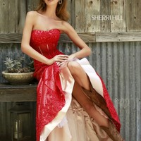 SHERRI HILL CORSET WAIST FIT AND FLARE STRAPLESS