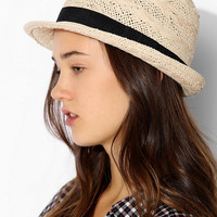 Straw Basketweave Trilby Hat  - Urban Outfitters