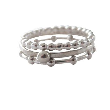 Sterling Silver Beaded Stacking Ring Set