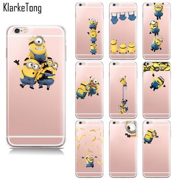 New Cute Cartoon Despicable Me 2 Yellow Minions Case For iPhone 8 6s 5 5s se 7 7Plus X transparent Silicon cell phone back cover