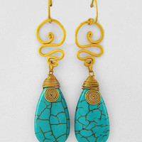 "30% off use promo code ""wanelo"" at checkout. Live Wire Gold and Turquoise Earrings"